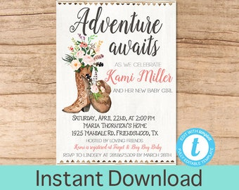 Rustic Baby shower invitation, Floral, Boots, Adventure awaits, Fall Baby Shower, Country Western shower Invite, EDITABLE Instant Download