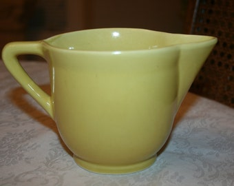 Vintage Yellow Ceramic USA Small Pitcher, Sauce Gravy Pitcher Retro Kitsch Mid Century Vase