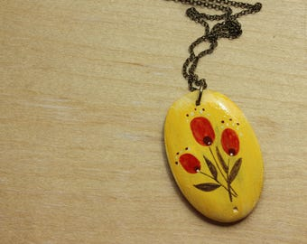 Vintage flower necklace-  Oval hand painted illustration pendant