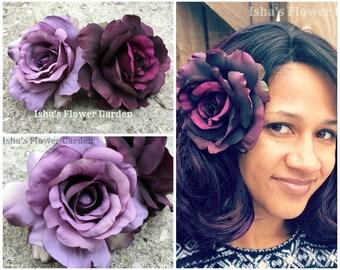 purple rose hair flower clip, deep purple, lavender, purple rose barrette