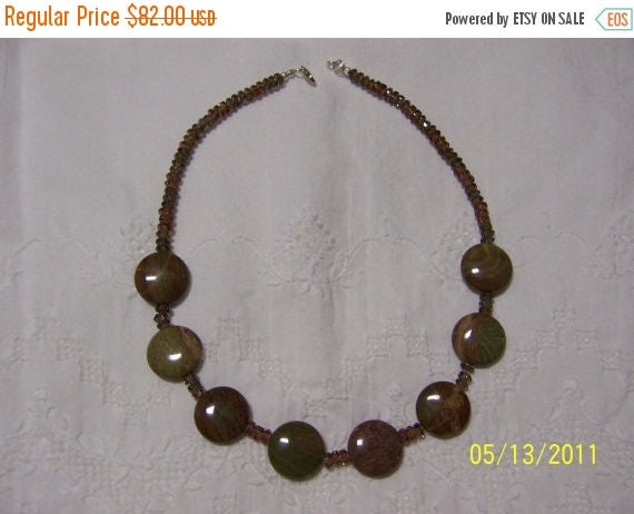 EVERYTHING 20% OFF, Brown-Green Jasper and chzec. crystal necklace 19 1/2 in. long/sterling silver clasp