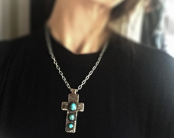 Sterling Silver Turquoise Cross Pendant Jewelry
