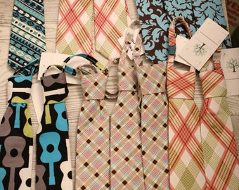 Boys neck ties size 12-24 months, you choose fabric.  Clearance, free shipping!