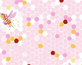 Half metre Pink Hex Bee, OOP Heather Ross, Briar Rose