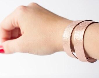 Leather Bracelet / Slim Wrap Cuff / Rosegold
