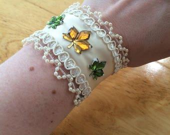 Ivory ribbon bridal cuff bracelet