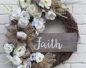 Neutral Everyday Floral Grapevine Wreath, Grapevine Wreath, Faith Wreath, Everyday Wreath, Neutral Wreath