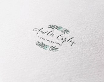 Floral Watercolor Photography Premade Logo