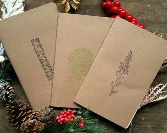 Pack of 3 blank notebooks / journals (large), cardboard covers, 32 pages, rounded corners, cotton sheets, stitched spine, sketching/writing