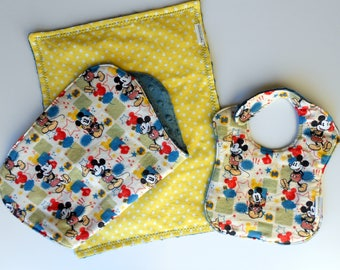 Free USA Shipping, Vintage Mickey Mouse Bib, burp cloth set, Mickey Mouse layette, Set of 3 baby gift, Mickey Mouse Nursery,Mickey & Minnie