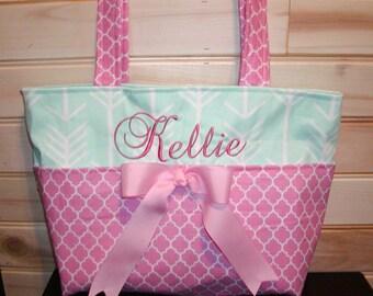 Diaper bag, handbag, purse, book bag..Mint Arrows N Pink Quadrafoil..Add a name, choose a font. Customize yours now.