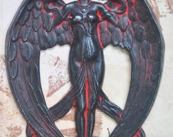 Art Nouveau Goddess Brass Stamping, Wicked Sassy Patina