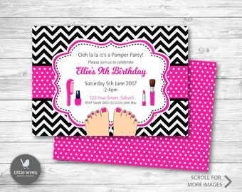 Pamper Party Invitation, Day Spa Invitation, Pamper Party, Birthday Invitation, Princess Party, Salon Party, Spoilt Party, Day Spa Party