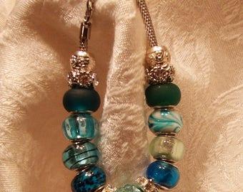 Pandora style bracelet Pandora style blue and green charm bracelet Blue charms  Green charms pandora style charms pandora style beads