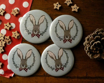 Christmas Magnet featuring a very elegant Christmas Rabbit (blue)