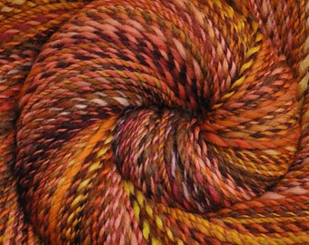 Hand spun yarn - Silk / Polwarth / Merino wool, Fine Sport weight - 370 yards - Peach Cobbler