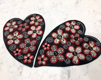 Heart Mug Rug with Flowers - Red Grey White Cream Black