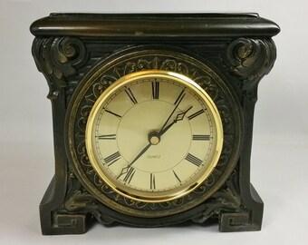 Vintage Kienzel German Mantle Heavy Cast Metal Quartz Movement Clock / Dk. Brown
