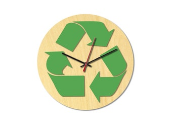 Lasercut clock, wood+acrylic, gift, home decorations, Recycle