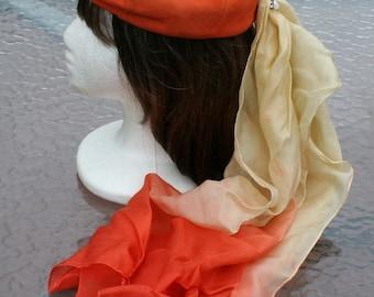 Vintage Hat Beret Orange Suede Scarf