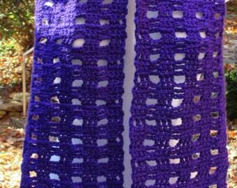 "Crocheted Scarf - Iris Purple - Open Box - 7"" X 59"" Premium Soft Acrylic Yarn - Neck Warmer"