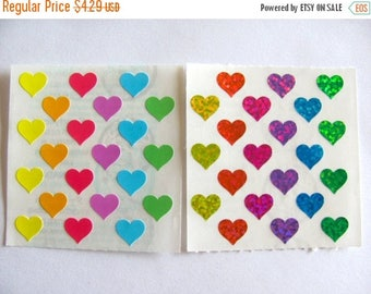 SALE A Pair of Vintage Sandylion Mini Heart Sticker Mods - Glitter Kromekote Pastel Module Rainbow Scrapbook Collage