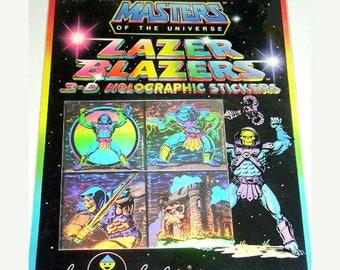 SALE Rare Vintage Lazer Blazers Colorforms Masters of the Universe Hologram Sticker Package - 80's Skeletor Archenemy Evil Overlord NIP