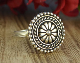 Ornate Flower Bead Wrapped Ring- Sterling Silver, Yellow or Rose Gold Filled Wire - Any Size 4 5 6 7 8 9 10 11 12 13 14 1/4 1/2 3/4