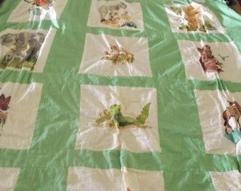 Hand painted quilt top, animals