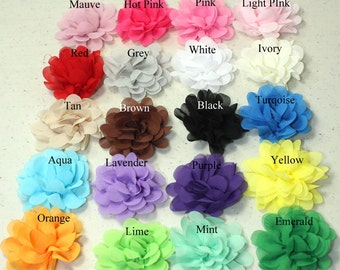 "2.5"" Chiffon Flowers- Mini Layered Flowers-Small Flowers-You Choose Color"
