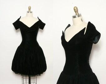 Victor Costa Dress. Black Velvet Dress. 80s Party Dress. Vintage Designer Dress. Avant Garde Dress. Black Cocktail Dress. LBD. Size Small.
