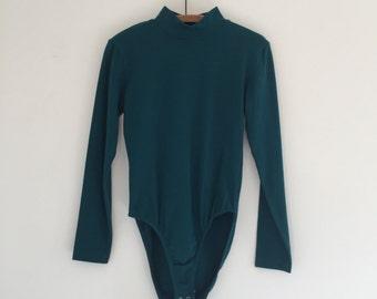 Vintage 80's Teal Cotton Bodysuit / Mock Turtleneck Body Suit M
