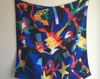 Vintage Silk Matisse Inspired Modern Art Scarf