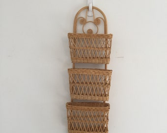Vintage Wicker Basket Wall Mail Sorter