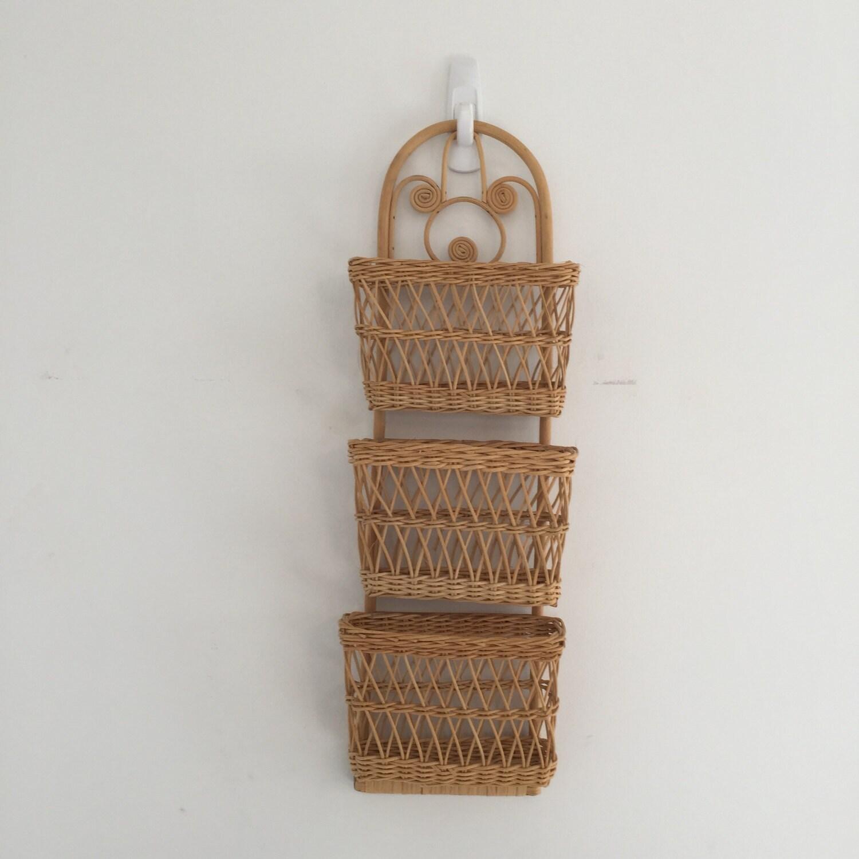 vintage wicker basket wall mail sorter. Black Bedroom Furniture Sets. Home Design Ideas