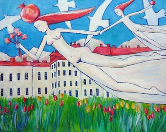 Oil on canvas original modern art for home decoration MOTHER FLYING with DAUGHTER and magic pomegranates