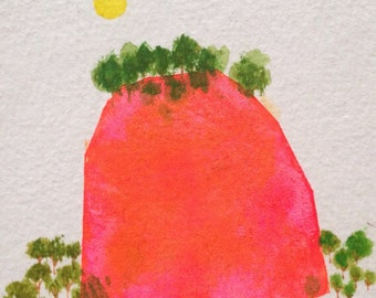 Mountain Gems - fluorescent pink with trees