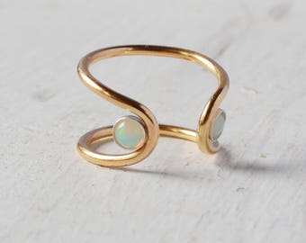 Welo Opal Orbit Ring, Sterling Silver or 14k Gold Gemstone Ring, Gold Filled Adjustable Open Cuff Ring, Double Stone Ring, Gold Opal Ring,