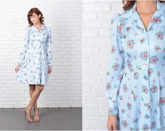 Vintage 70s Striped + Floral Dress Shirt Dress Mod Puff Slv Blue Red shirtdress 9517 vintage dress 70s dress floral dress mod dress blue