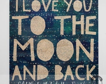 Wood Sign: I Love You to The Moon and Back - Love Inspired - Product Sizes and Pricing via Dropdown Menu