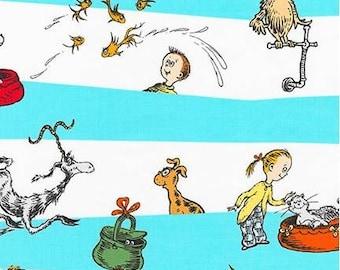 Dr Seuss's What Pet Should I Get Characters on Aqua Stripes from Robert Kaufman by Seuss Enterprises