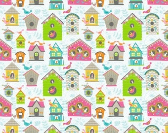 Tweet Tweet Birdhouses on White from Blend Fabric's Flutter & Float Collection