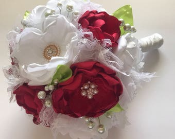 Fabric Flower Bouquet - Lime, Red, Pure White and Gold - Handmade Fabric Flower Bouquet, Heirloom Bouquet, Bridal Bouquet, Wedding Bouquet