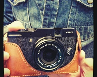 Cow leather case for Fujifilm X10 X20  include leather full case and leather strap in vintage brown