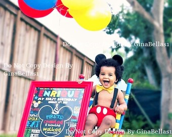 Mickey Mouse Birthday outfit cake smash FREE ears Suspenders diaper Cover yellow bow tie clubhouse photo prop invitation 9 12 18 24 toddler