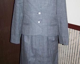 Vintage 1980's Grey Tweed Poly Blend 2 Piece Ladies suit