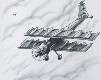 ORIGINAL ILLUSTRATION: Copic Marker Artwork, Ink Drawing, Airplane Art, Bi-plane Aircraft, Flying, Sky, Clouds, Aviation
