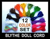 Blythe Doll Pullstring -  Strong Nylon Blythe Cord - 12 Colors Pull Cord for Sleepy Eyes & Charms