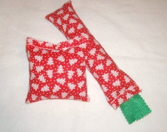 SALE Catnip Cat Toys - Kickstick & Pillow Set - Christmas Trees Red and White Fabric