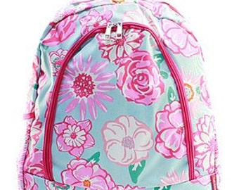 Monogrammed Floral Lilly Inspired Bookbag -Monogrammed Backpack -Back to School  -Monogrammed Girl's Bag - Backpack -Beach Bag - Kid's Tote